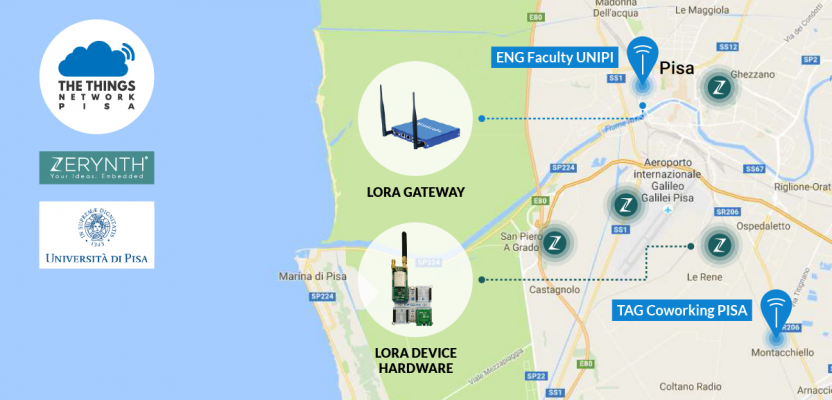 Pisa gets LPWAN (LoRaWAN) coverage thanks to Zerynth, University of Pisa and The Things Network