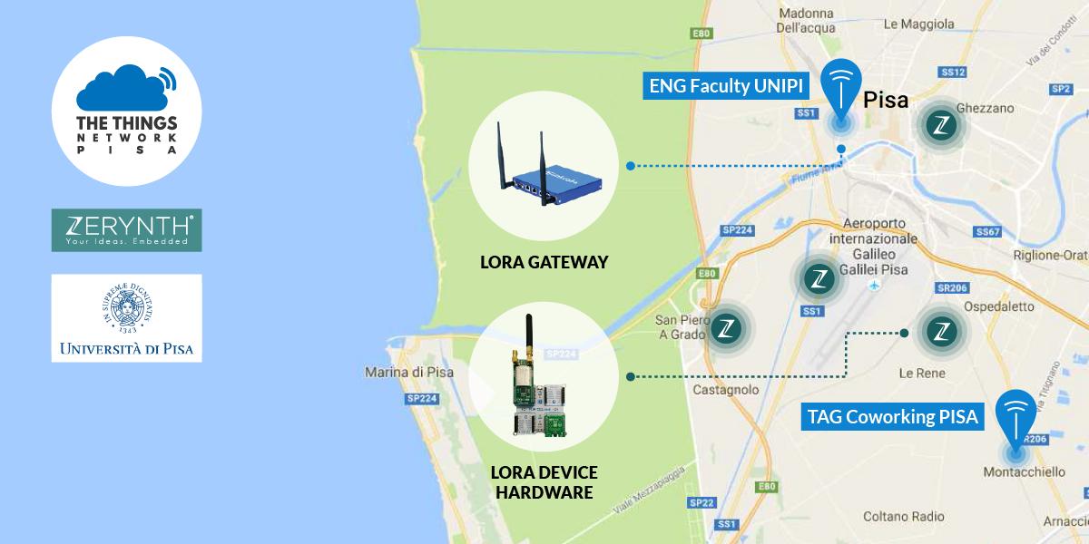 Pisa gets LPWAN (LoRaWAN) coverage thanks to Zerynth, University of Pisa and The Things Network