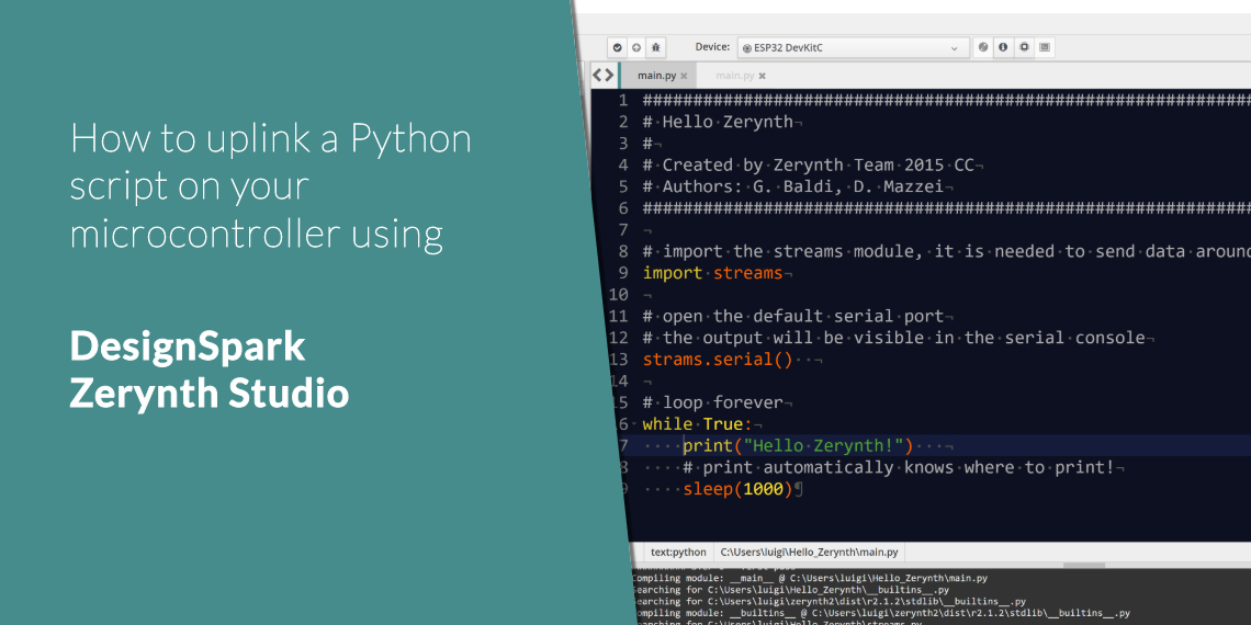 How to uplink a Python script on your microcontroller using DesignSpark Zerynth Studio