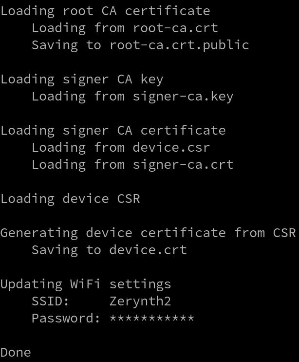kit_provision command output