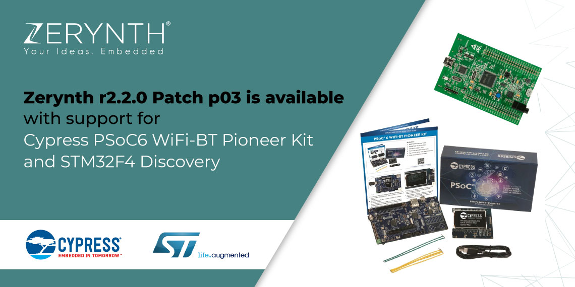 Zerynth r2.2.0 Patch p03 is available with support for Cypress PSoC6 WiFi-BT Pioneer Kit and STM32F4 Discovery