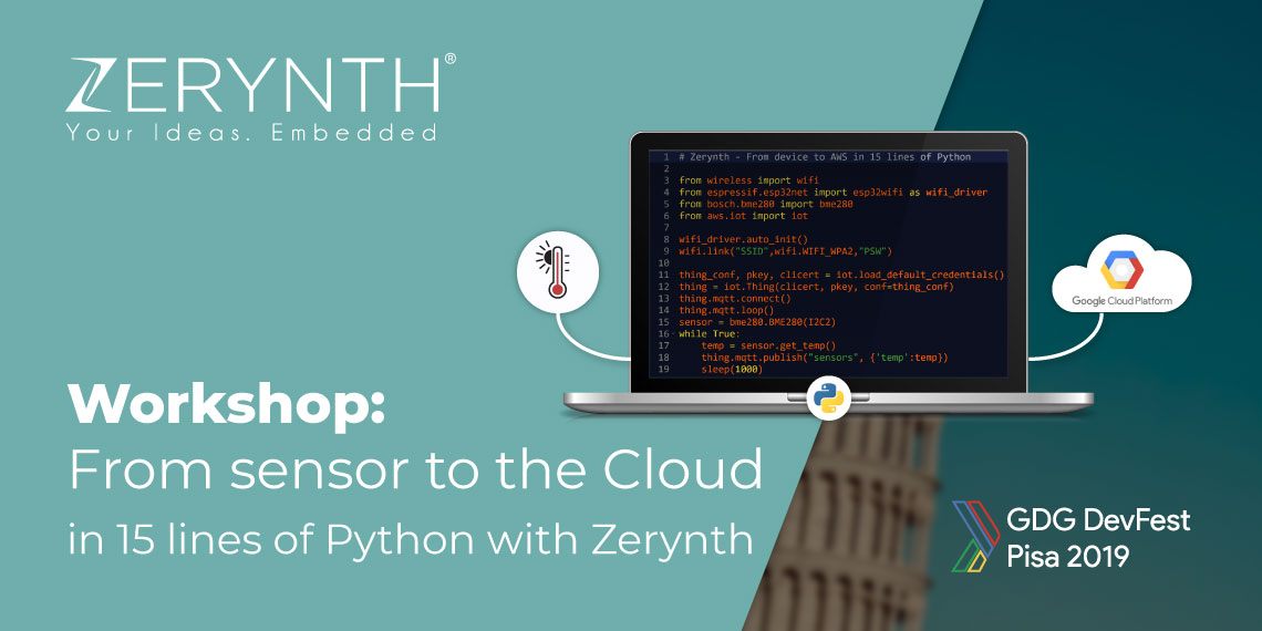Zerynth Google Workshop 15 lines of code Python post banner