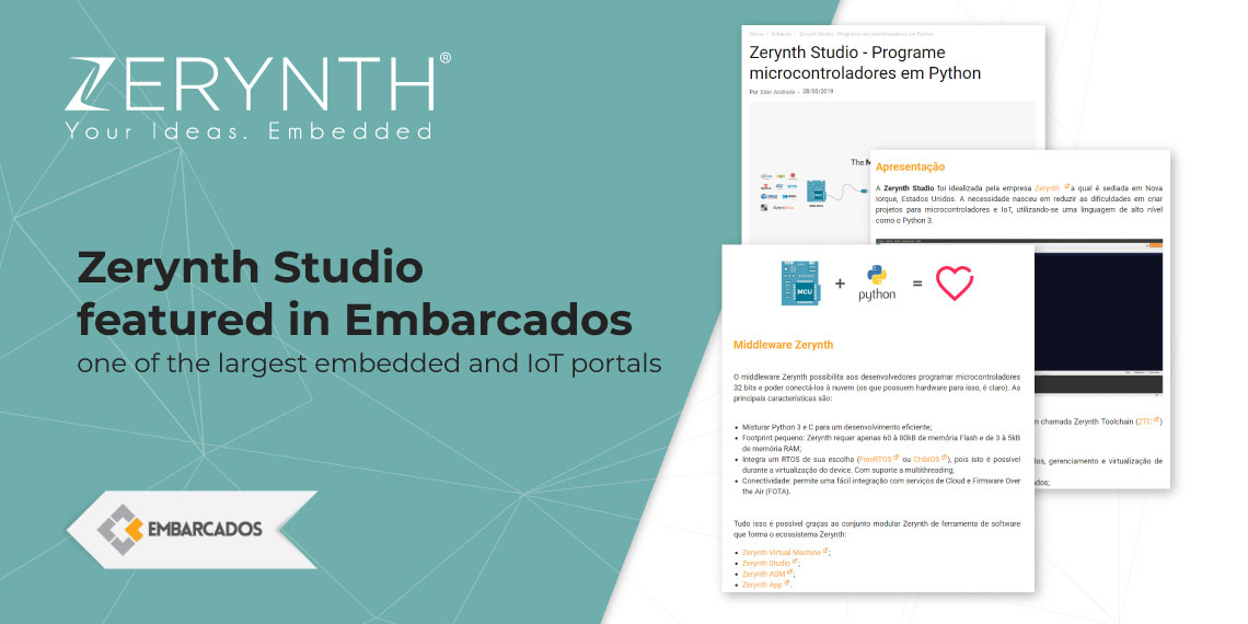 Zerynth Studio featured in Embarcados, one of the largest embedded and IoT portals