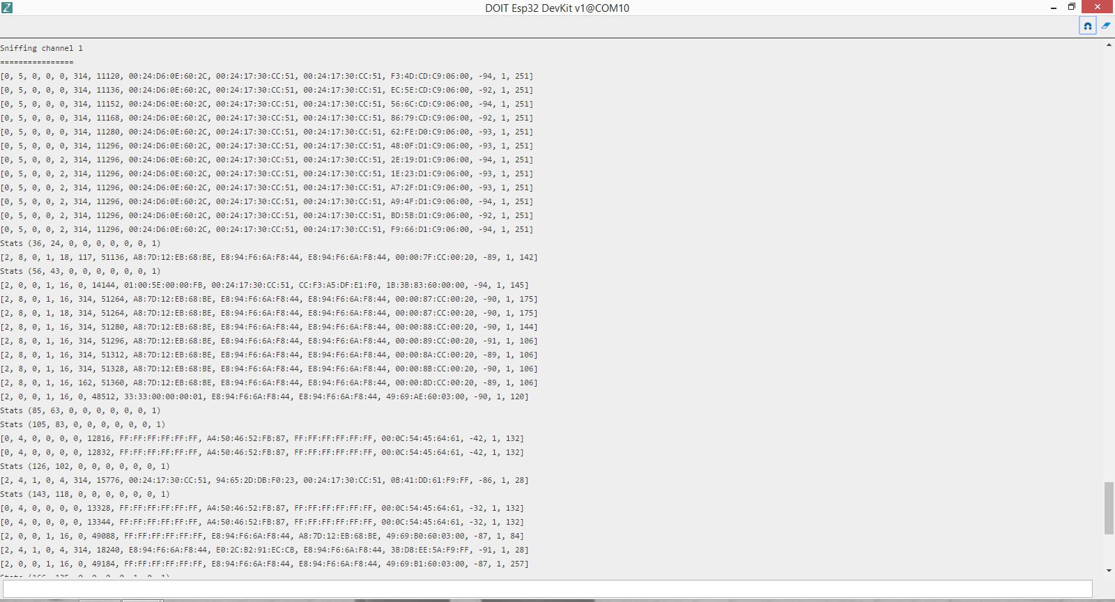 WiFi Packet analyzer (aka WiFi Sniffer) using ESP32 and Python
