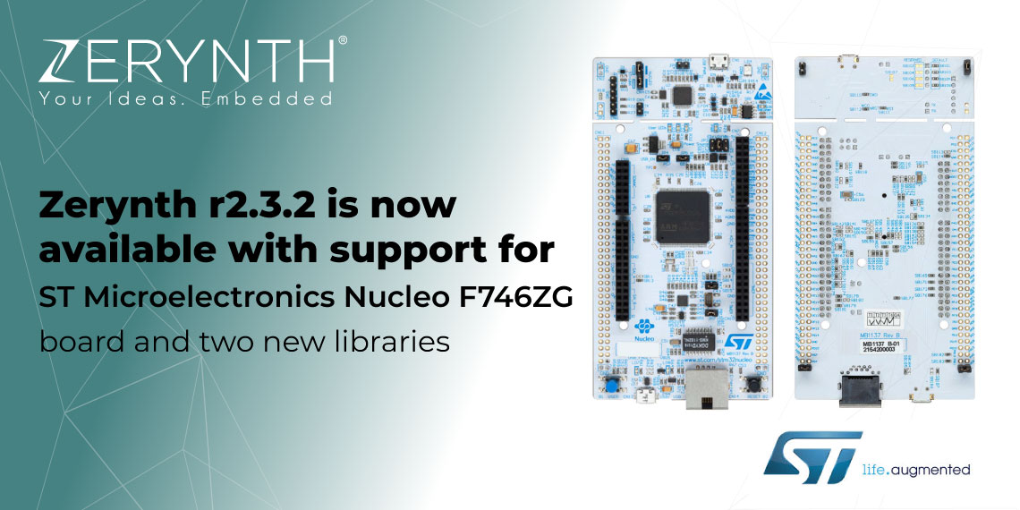 Zerynth r2.3.2 is now available with support for ST Microelectronics Nucleo F746ZG board and two new libraries